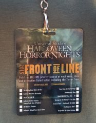 Halloween Horror Nights Hollywood 2015 - Front of Line Pass